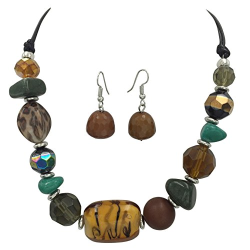 Multi Color Mixed Beads Statement Necklace & Dangle Earrings Set (Brown (Swirl Glass Bead Earrings)