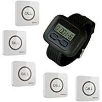 SINGCALL® Wireless Calling System, Service Calling, Home Caring, Can Be Pin on the Wall, Convenient to Press, for Old, Aged People, for Cafe, Hotel, Hospital, Pack of 5 Buttons and 1 Pc Watch