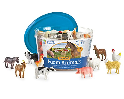 Learning Resources Farm Animal Counters, 10 Different Animals, Set of 60, Ages 3+ -