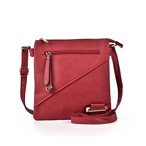 Women bag Pocket Crossbody PU handbag Design Simple GLITZALL Multi Rouge Fashion Leather Zipper 4W6aAx6dqn