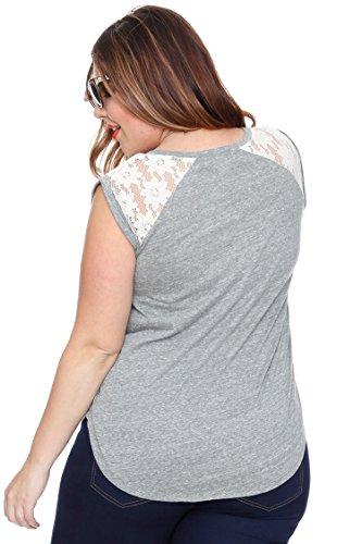 Lace Shoulder Heather Plus Size Tee Grey 2X