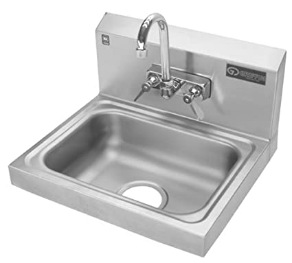 Griffin H30 124C Hand Wash Wall Mounted Sink With Faucet, Stainless Steel