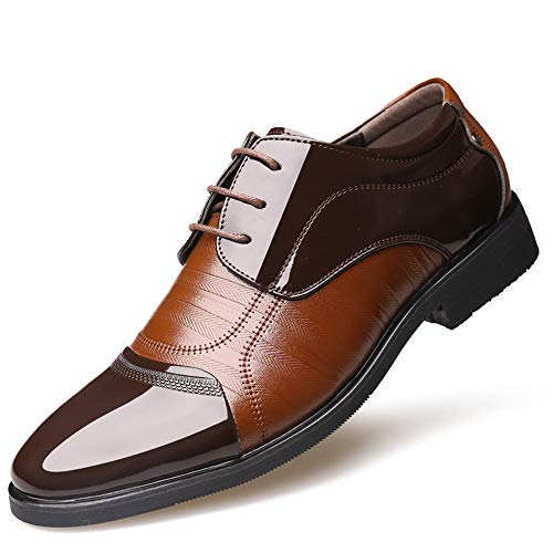 da Pelle Fashion Scarpe in Cricket da Punta Verniciata Scarpe Stile Oxford Uomo Marrone Formali Stitching Britannico in Business a Casual wzTq8I