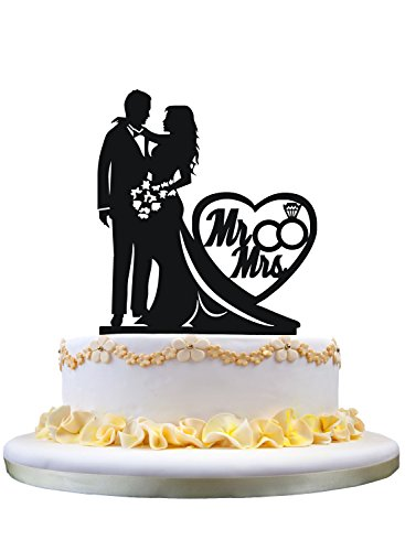 """Wedding Cake Topper Silhouette Bride and Groom with """"Mr & Mrs"""""""