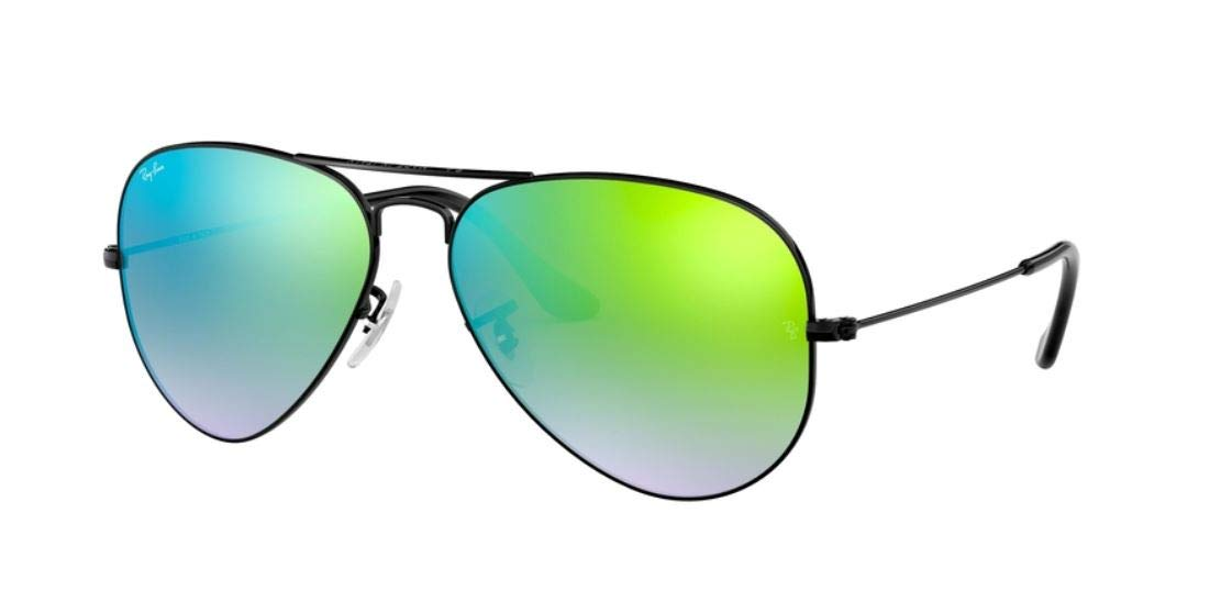 New Authentic Ray-Ban Aviator RB 3025 002/4J 58mm Black/Green Gradient Mirror Med.