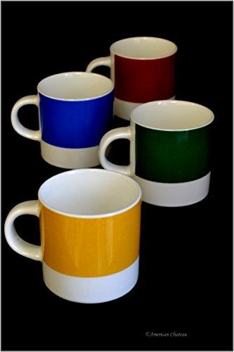 Set 4 Stacking Color Blocks Porcelain 3oz Demitasse Espresso Coffee Cups ()