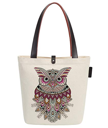 So'each Women's Cute Animal Owl Graphic Print Top Handle Canvas Tote Shoulder Bag -