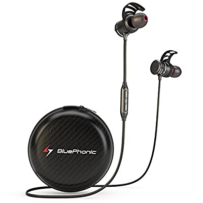Bluephonic Bluetooth Headphones, Wireless Magnetic Earbuds w/ Microphone | Impeccable HD Sound | Sports, Running & Gym Workout Noise Cancelling Headset | Fit In Ear Sweatproof Earphones | 8 Hour Play