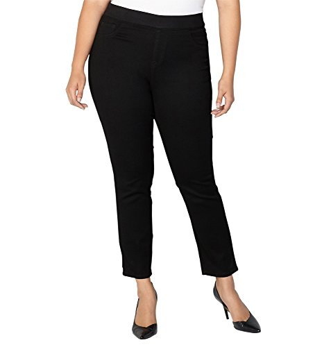Avenue Denim (Avenue Women's Butter Denim Pull-On Skinny Jean In Black, 18 Black)