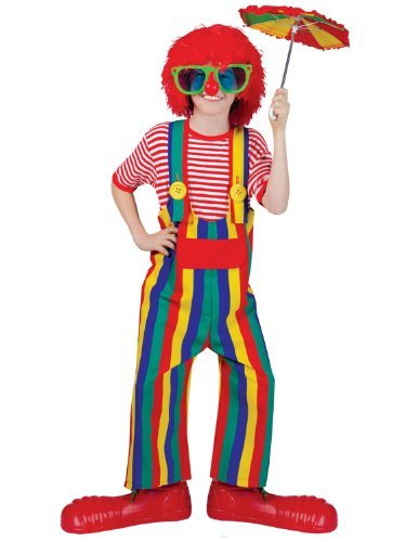 Striped clown overalls child costume by Funny Fashion (Striped Clown Overalls Costume)