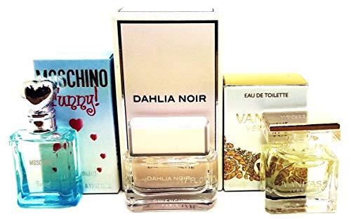 Perfume Studio 3 Piece Women Bundle Collection set of Individually Boxed Travel Size Splash-on Fragrances: Moschino Funny EDT 4 ml, Dahlia Noir EDT 5ml, Vanitas EDT 4.5ml; All Splash-On Fragrances