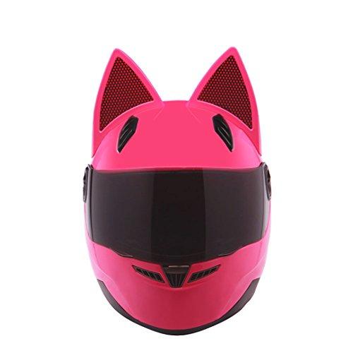 TOUKUI Male/Female Personality Black Cat Full Face Motorcycle Helmet Fashion Motorcycle Helmet Pink L (Hawk Helmet Novelty)