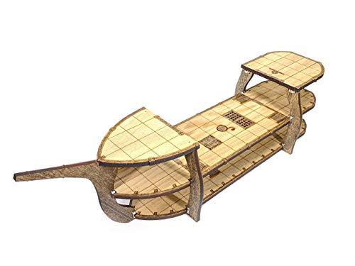 3-Level Classic RPG Style Ship // 1 Inch Grid for games like D&D, Pathfinder // Magnetic Assembly // Laser Cut Stained Solid Wood