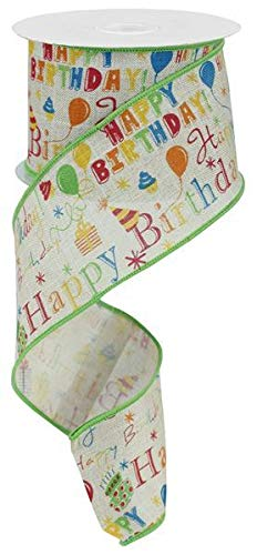 Wired Ribbon Happy Birthday Multi Colored on Buff 2.5
