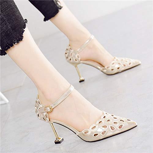 De Hebilla Princesa Palabra Negro Zapatos Oro Solo Hueco Salvaje Elegante Corte Puntiagudo Hueca Altos Mujer Tacones La Hrcxue Z54AqxBB