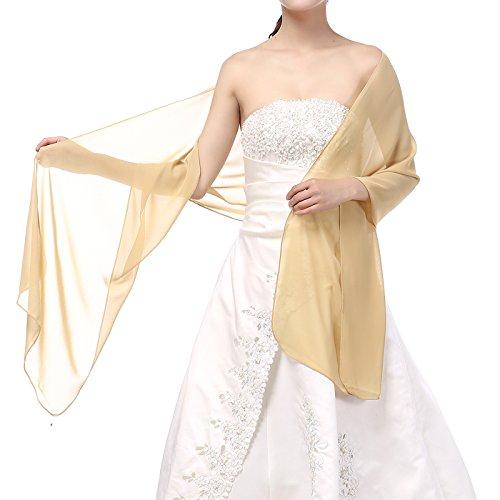 Soffte Cloud Sheer Chiffon Women Evening Shawls and Wraps for Dresses Gold (Sheer Chiffon)