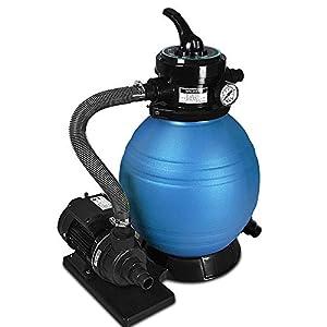 Deuba Depuradora Azul y Negro 10200 l/h Bomba de Filtro de Arena con válvula con 4 Funciones Filtro de Agua para Piscina