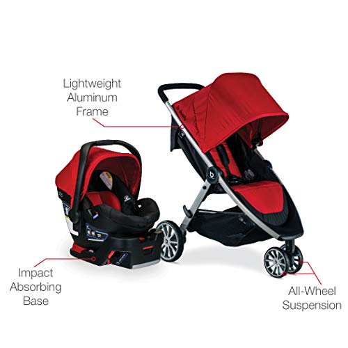 41AiKH5qv4L - BRITAX B-Lively Travel System With B-Safe 35 Infant Car Seat | One Hand Fold, XL Storage, Ventilated Canopy, Easy To Maneuver, Cardinal