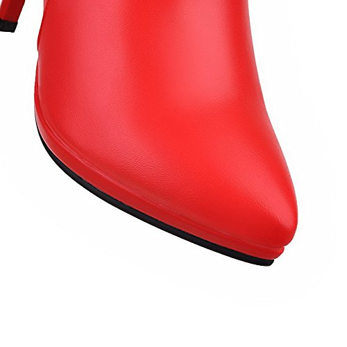 AgooLar Women's Pointed Closed Toe Low Top Spikes Stilettos Solid Pu Boots Red nseMAz