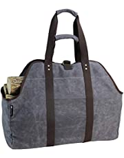 Waxed Canvas Log Carrier Tote Bag, Extra Large Durable Firewood Holder with Handles and Shoulder Strap, Heavy Duty Wood Carrying Bag for Fireplaces