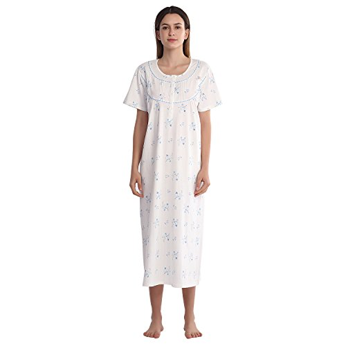 Keyocean Women Nightgown 100% Cotton Printing Short Sleeve Long House Sleepwear (XL) (Nightgown Order)