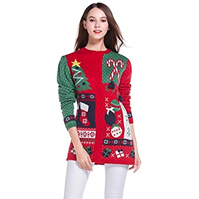 *daisysboutique* Women's Christmas Cute Knitted Tunic Sweater Girl Pullover at Amazon Women's Clothing store