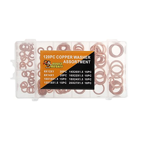 120 Piece Metric Solid Copper Crush Washer Kit Bulk Shop Set Replacement M6-20 (Metric Boost)