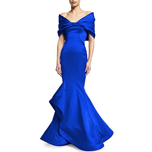 Capped Satin (Women's V-neck With Capped Satin Mermaid Evening Dresses Long Ruffles Prom Formal Gowns 134 Royalblue-16)