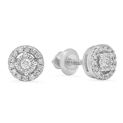 Dazzlingrock Collection 0.20 Carat (ctw) 10K Round White Diamond Ladies Cluster Halo Style Stud Earrings 1/5 CT, White Gold ()