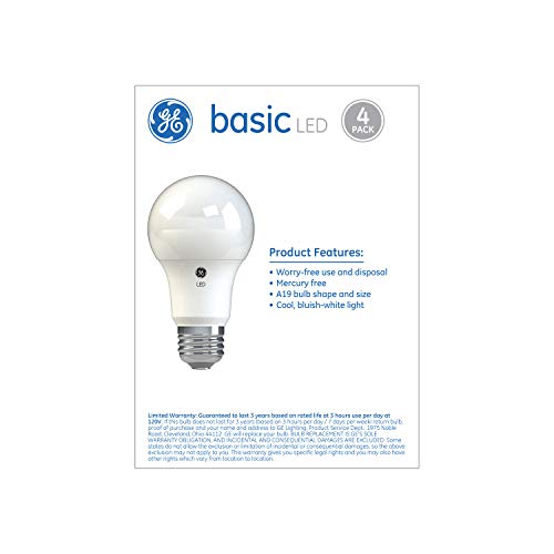 GE Basic LED Light Bulbs, A19 General Purpose (40 Watt Replacement LED Light Bulbs), 420 Lumen, Medium Base Light Bulbs, Daylight, 4-Pack LED Bulbs, Title 20 Compliant