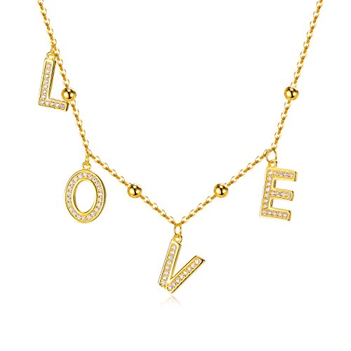 LOVE Charm Choker Necklace Gold over 925 Sterling Silver 13