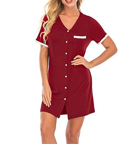 XGDong Mother's Day Womens Nightgowns V Neck Boyfriend Nightshirt Womens Short Sleeve Short Pajama top Button Down Sleepwear Classical Sleep Shirt Dress Red XL
