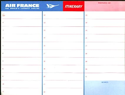 Amazon.com: Air France Itinerary Form & Route Map unused ...