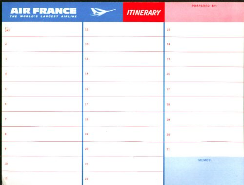 Amazon.com: Air France Itinerary Form & Route Map unused 1960s ...