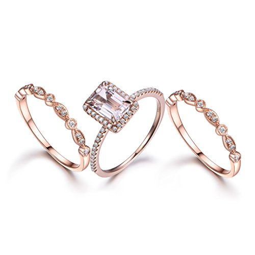 3pcs Morganite Wedding Ring Set,6x8mm Emerald Cut Stone,14k Rose Gold,Art Deco Diamond Band,Half Eternity ()