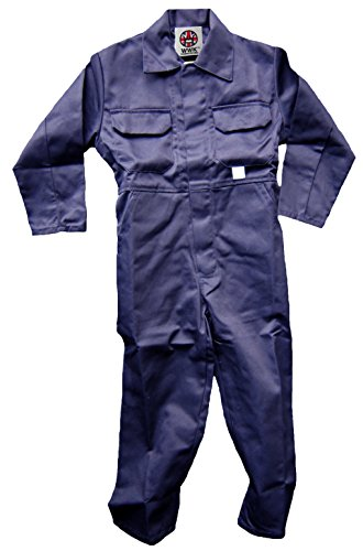 WWK / WorkWear King Boy's Kids Childrens Boilersuit Coveralls Overalls (Size 26, 5-6 Years, Navy Blue)