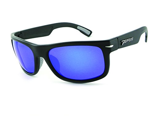 Peppers Polarized Sunglasses Palisades Rubberized Matte Black with Blue Lens