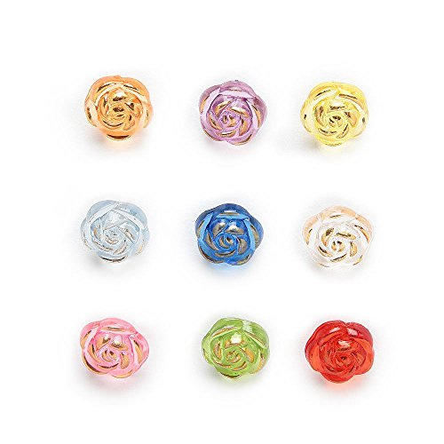 BarFeer 50Pcs Shank Acrylic Round Buttons Rose Sewing Scrapbooking Gift Home Clothing Diy Making Handwork Decor 11Mm