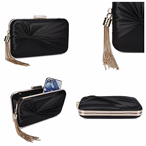 Party Elegant Pendant Women's Tassel Evening Clutch Bowknot Purse Bags Chichitop Wedding Bridal Black xTWYqH5T