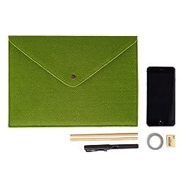 2pcs Felt A4 Size Paper Receipt Document Jackets File Folder Expanding Envelope Sleeve Paperwork Carrying Case Holder Office School Business Briefcase Storage Bag Organiser Pocket Button Wallet