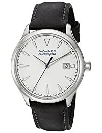 Movado Men's Swiss Quartz Stainless Steel and Leather Casual Watch, Color:Black (Model: 3650002)