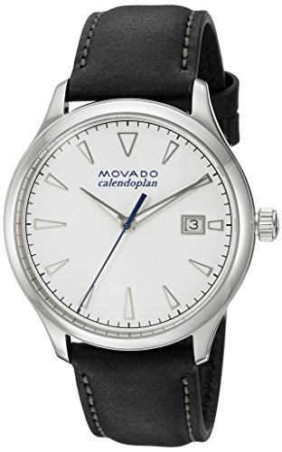 Movado Men's Stainless Steel Swiss-Quartz Watch with Leather Strap, Black, 20 (Model: 3650002)