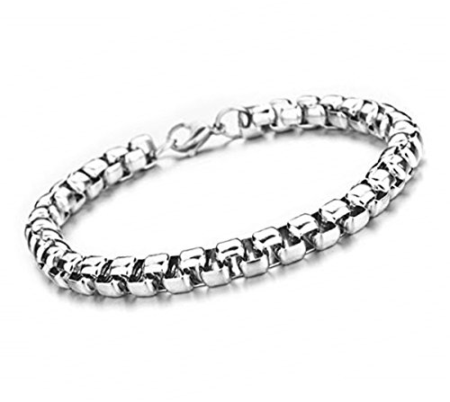 3-7mm 8-36In Square Rolo Stainless Steel Chain Necklace Round Box Necklace Jewellery for Men Women (Stainless-Steel, 7mm Wide, 10)