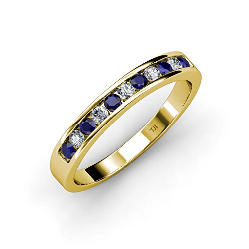 Blue Sapphire and Diamond 11 Stone Channel Set Wedding Band 0.36 ct tw in 14K Yellow Gold.size 4.5