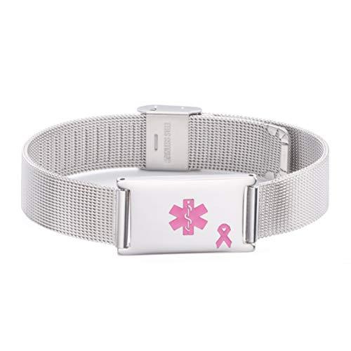 linnalove Lymphedema Alert No bp/iv/Needles This arm Stainless Steel Milanese Medical ID Alert Bracelet for Breast Cancer Adjustable by linnalove (Image #1)