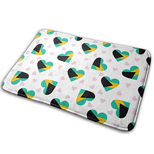 Doormat Bahamas Flag Heart Pattern Sturdy Coral Wool Bathroom Mat for Dog