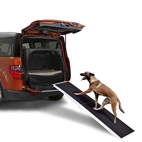 "Goplus 7FT Pet Ramp Portable Aluminum Incline Folding Dog Ramp Easy Fold Portable for Car Truck SUV, 15"" Wide 250lbs Capacity"