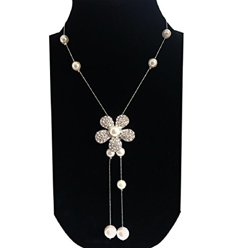 Nataliya Long Pendant Necklace (Adjustable Multi-Flower Pearl ()