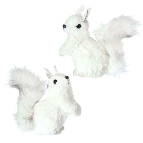 White Squirrel Christmas Decor - Set of 2