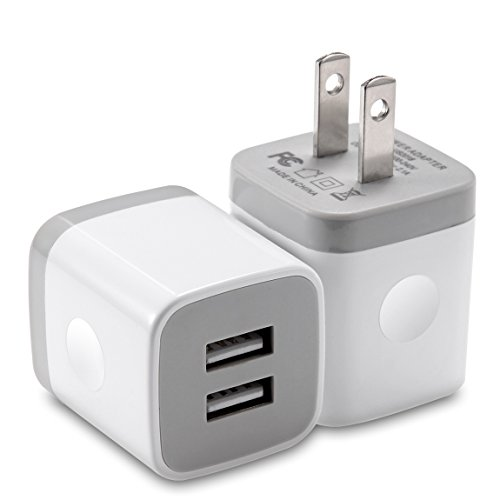 USB Wall Charger, LOOGGO 2.1A/5V 2-Pack Dual Port USB Wall Charger Plug Charging Block Power Adapter Compatible with iPhone Xs Max XR X 8 7 6 Plus 5S, iPad, Samsung, LG, Android Cell Phone (White)